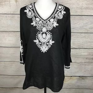 Chico's heavily embellished linen blend tunic top